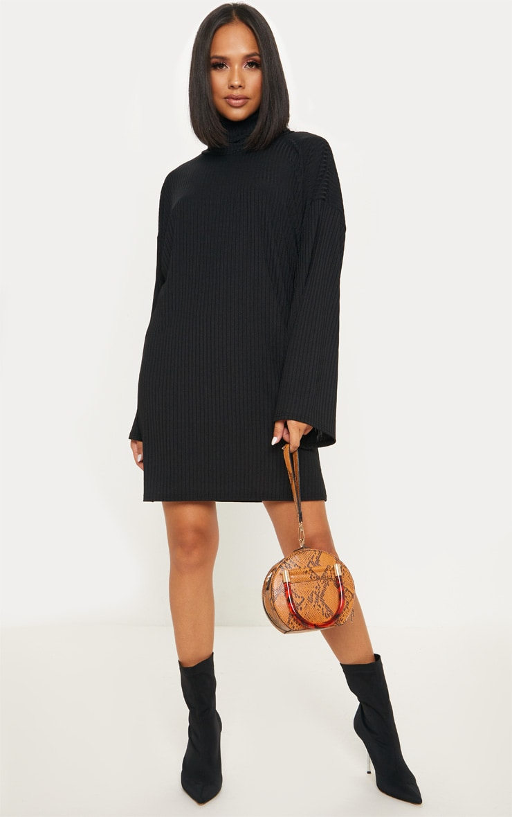 Black Wide Rib High Neck Oversized Jumper Dress 4