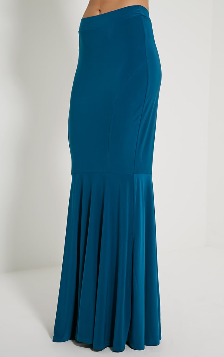 Silvie Teal Fish Tail Slinky Maxi Skirt 3