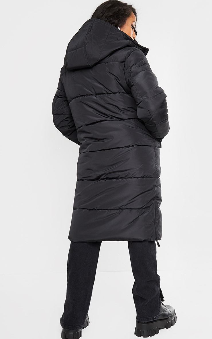 Petite Black Maxi Contrast Hooded Puffer 2