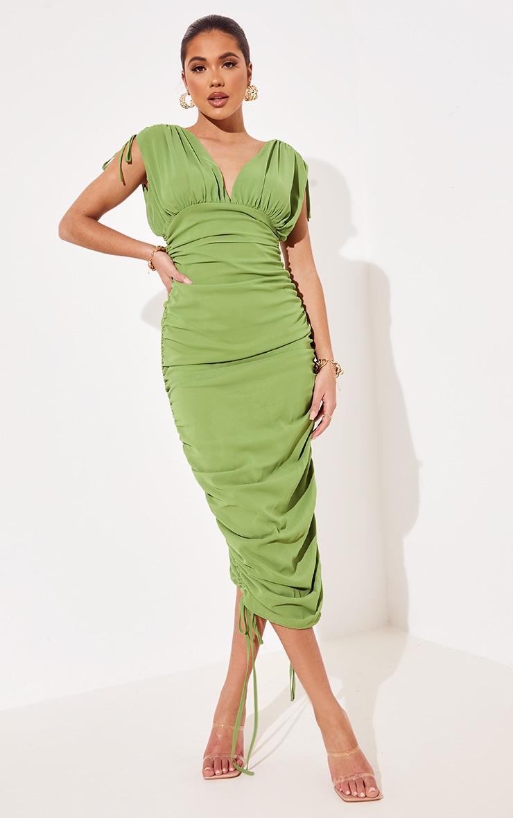 Green Chiffon Sleeveless Ruched Plunge Midi Dress 1