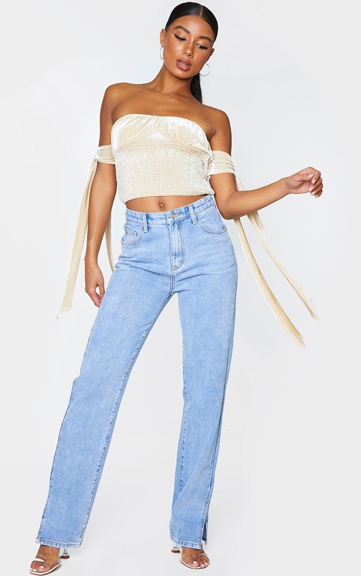 Cream Velvet V Wire Underbust Shirring Top 1