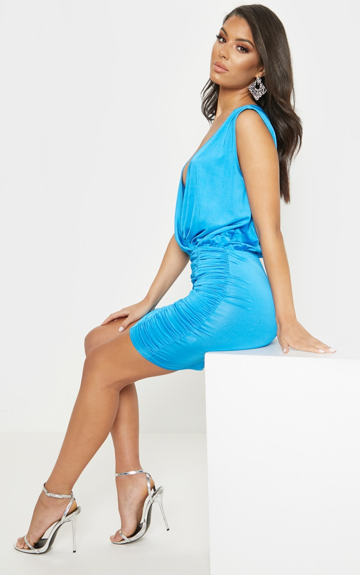 Bright Blue Slinky Plunge Ruched Front Bodycon Dress 4
