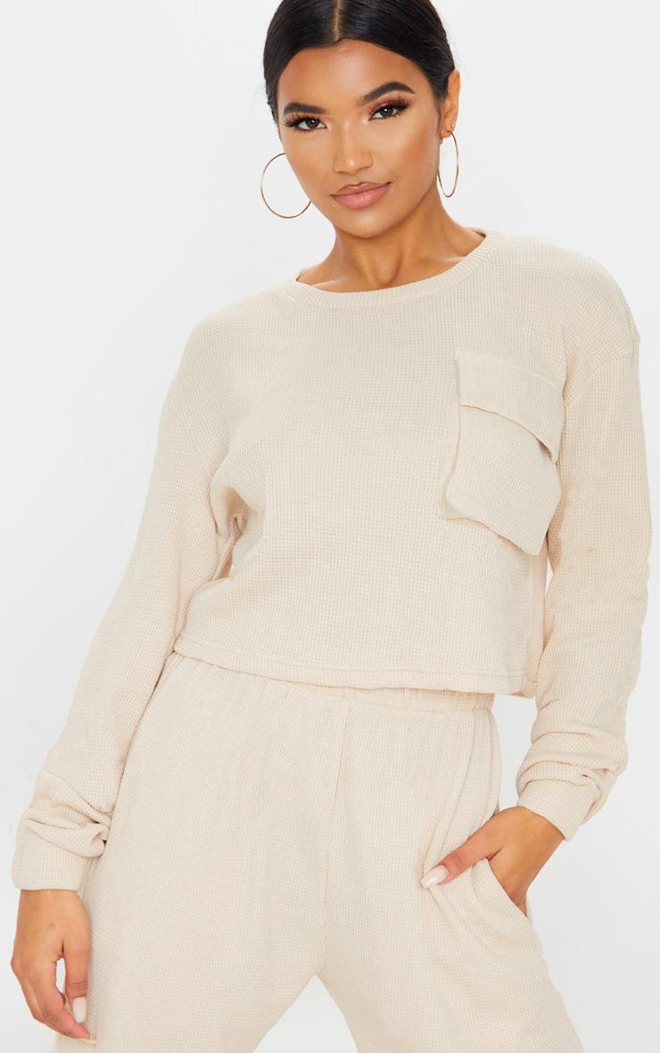 Cream Long Sleeve Pocket Detail Waffle Knit Crop Top 1