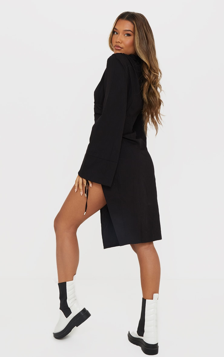 Black Textured Wrap Detail Flare Sleeve Midaxi Dress 2