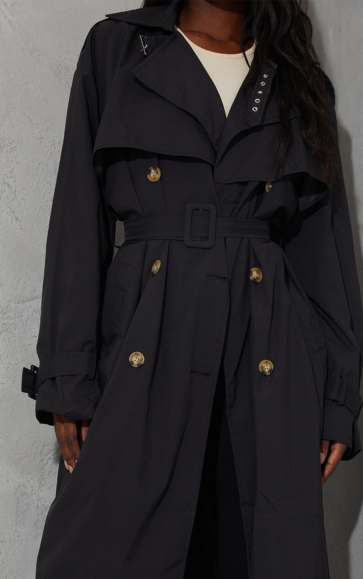 Tall Black Oversized Belted Midi Trench 4