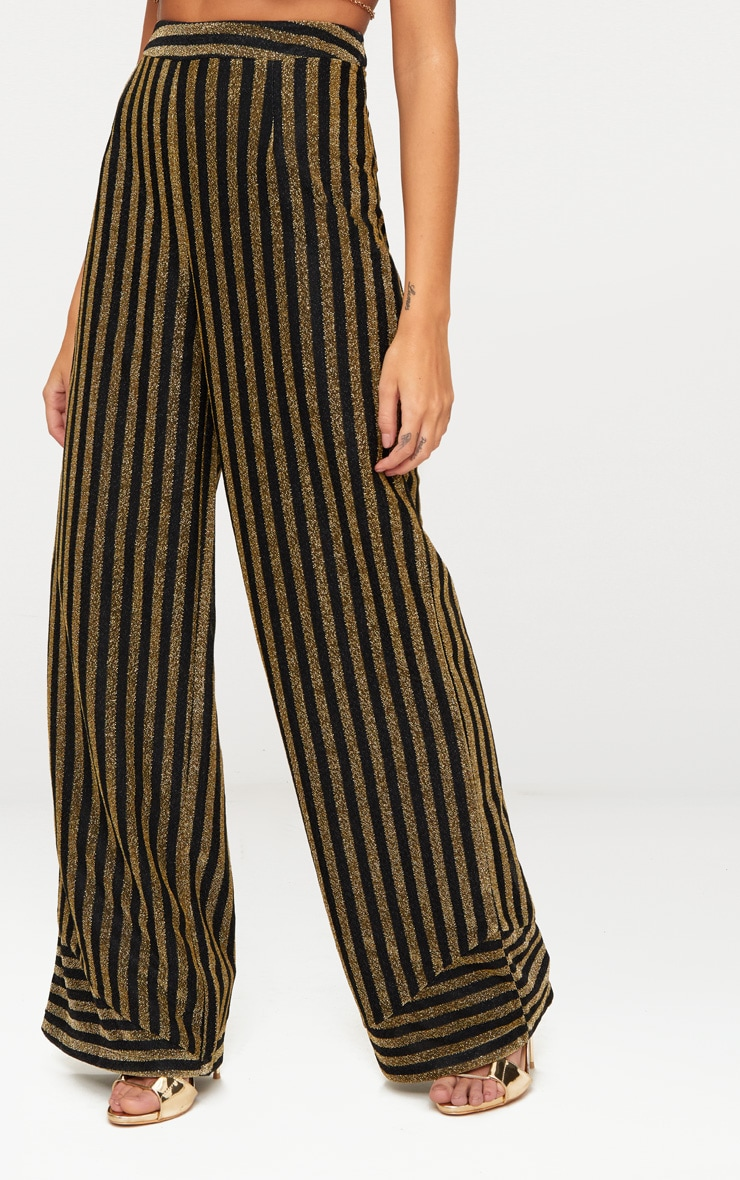 Black Metallic Stripe Wide Leg Trouser 5