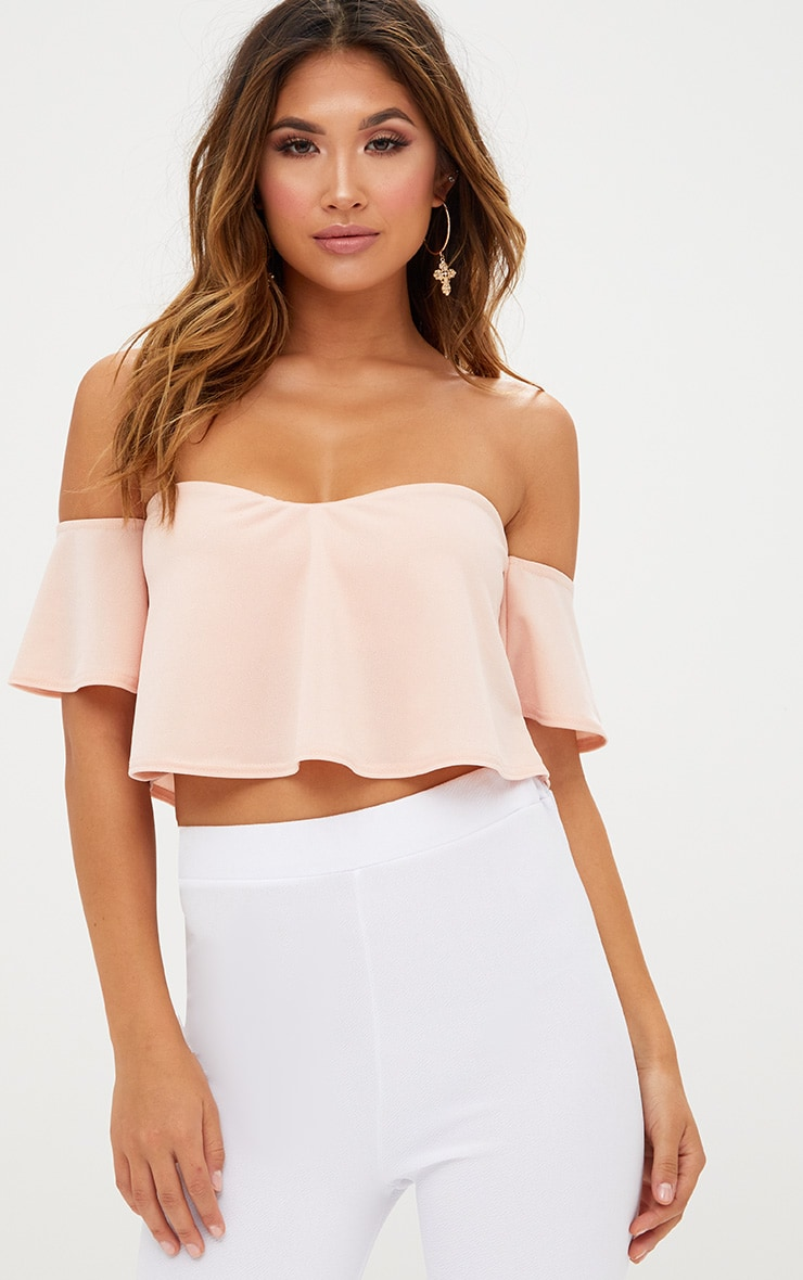 Blush Bardot Sweetheart Neckline Crop Top 1