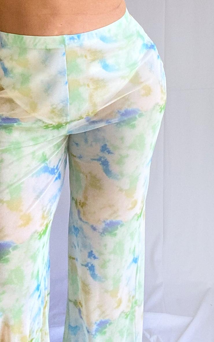 Plus Baby Blue Sheer Tie Dye Flared Pants 4
