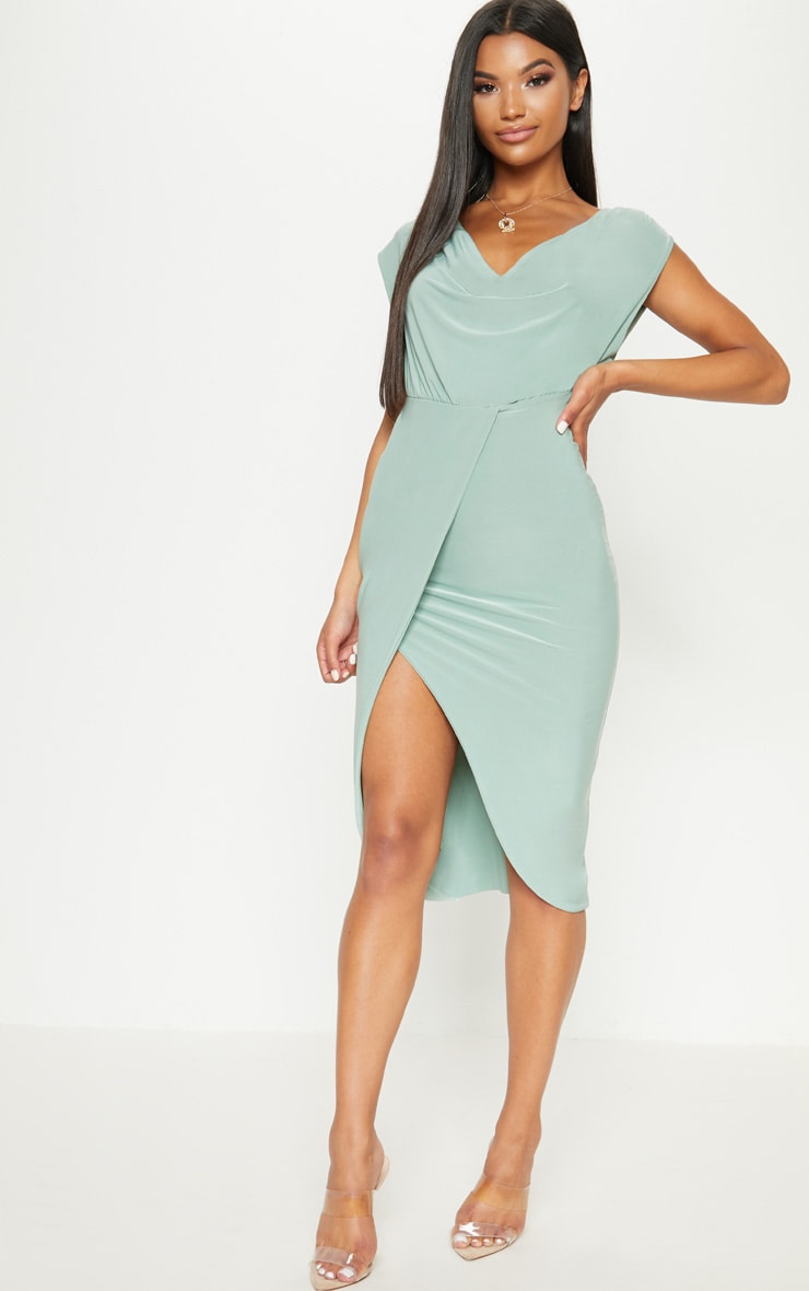 Sage Green Double Layer Slinky Cowl Neck Wrap Midi Dress