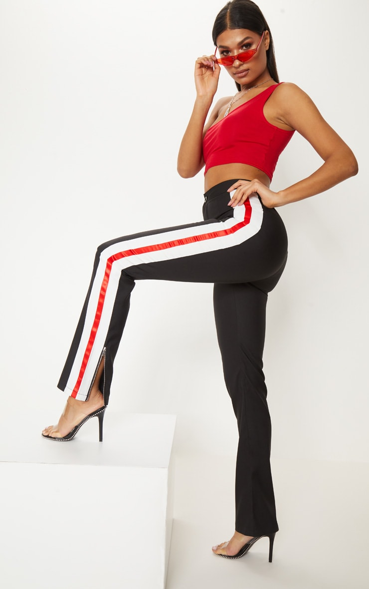 Black Tailored Side Stripe Straight Leg Trouser 1