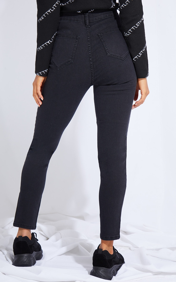 Petite Washed Black Disco Fit Skinny Jeans 3