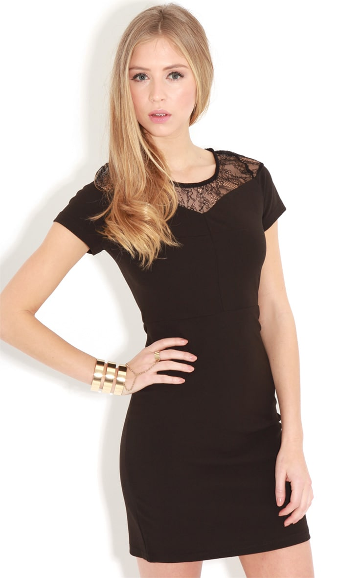 Chrisy Black Fitted Lace Panel Dress 1