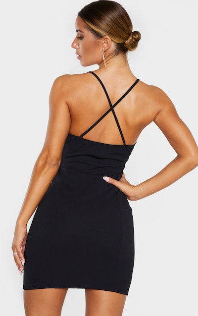 Black Deep Plunge Strappy Back Bodycon Dress