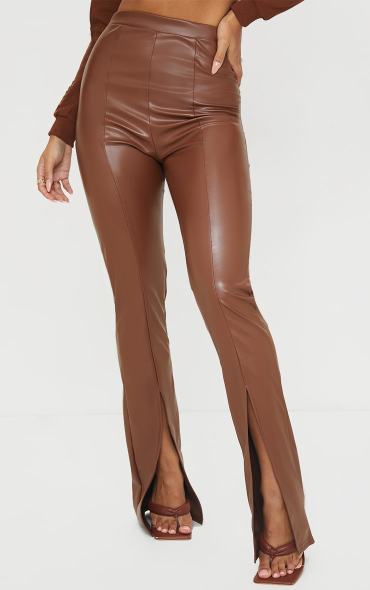 Camel Faux Leather Seam Detail Split Hem Pants 2