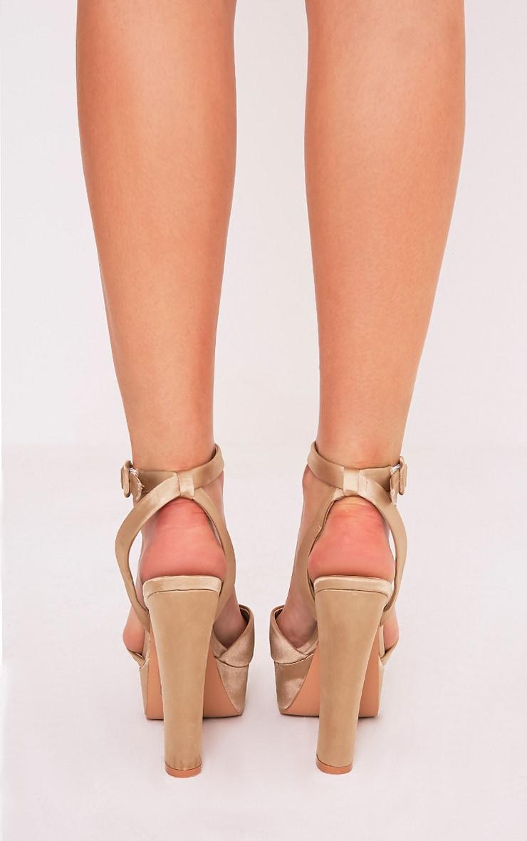 Dianne Champagne Satin Platform Heels 4