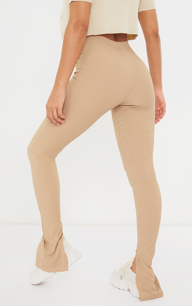 Latte Ribbed Split Hem Leggings 3