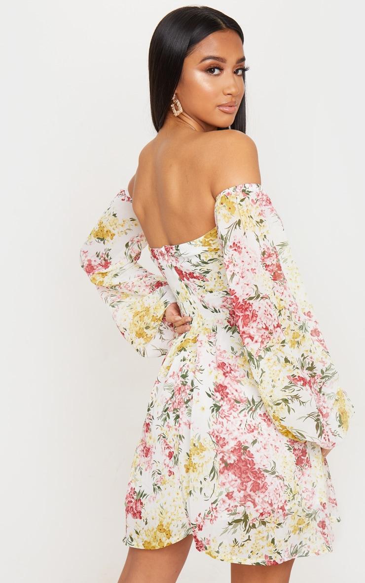 Petite Cream Floral Chiffon Long Sleeve Swing Dress 3