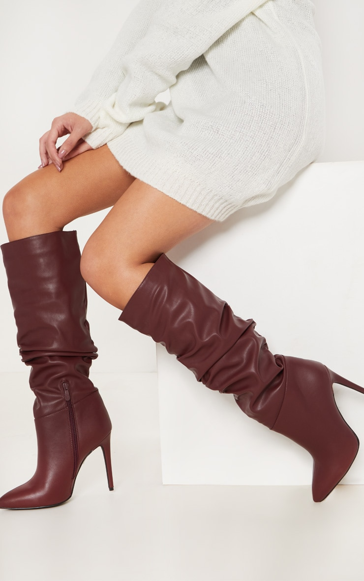 Burgundy Slouch High Point Knee Boot