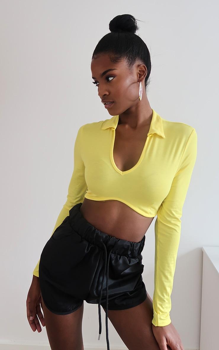 Yellow Jersey Polo Collar Curve Hem Crop Top 1