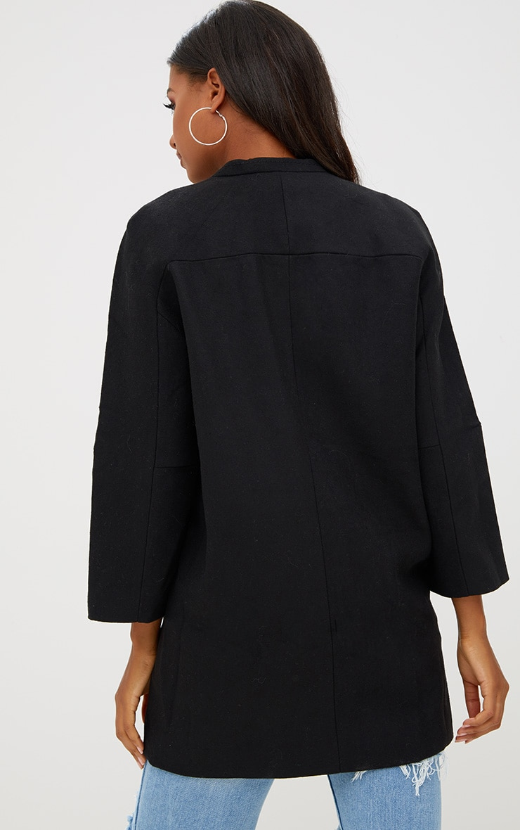 Black Mid Length Button Coat 2