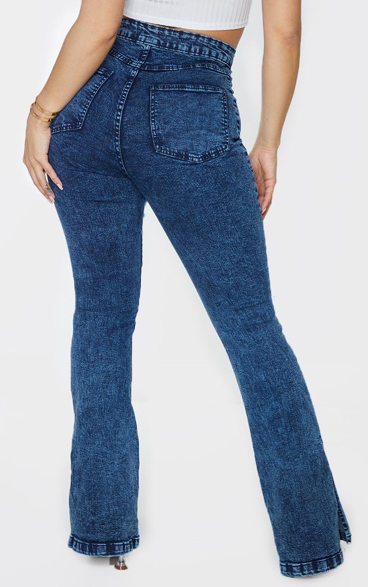 Shape Acid Blue Wash Split Hem Flared Jeans 3
