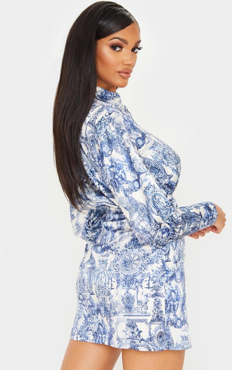 Navy Renaissance Print Satin Balloon Style Shirt Dress 3