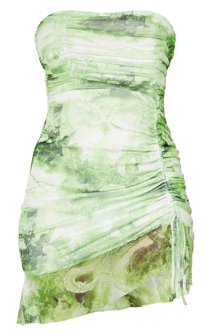 Lime Dragon Print Mesh Ruched Frill Edge Bandeau Bodycon Dress 5
