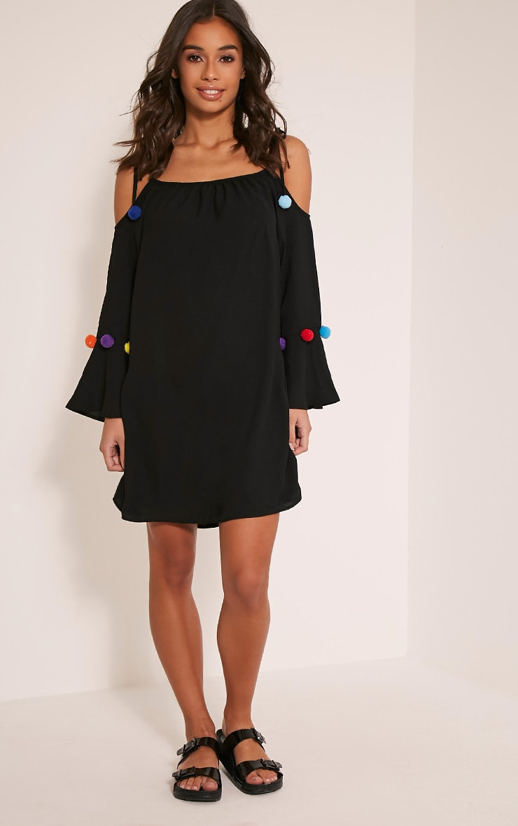 Erin Black Pom Pom Detail Swing Dress 5