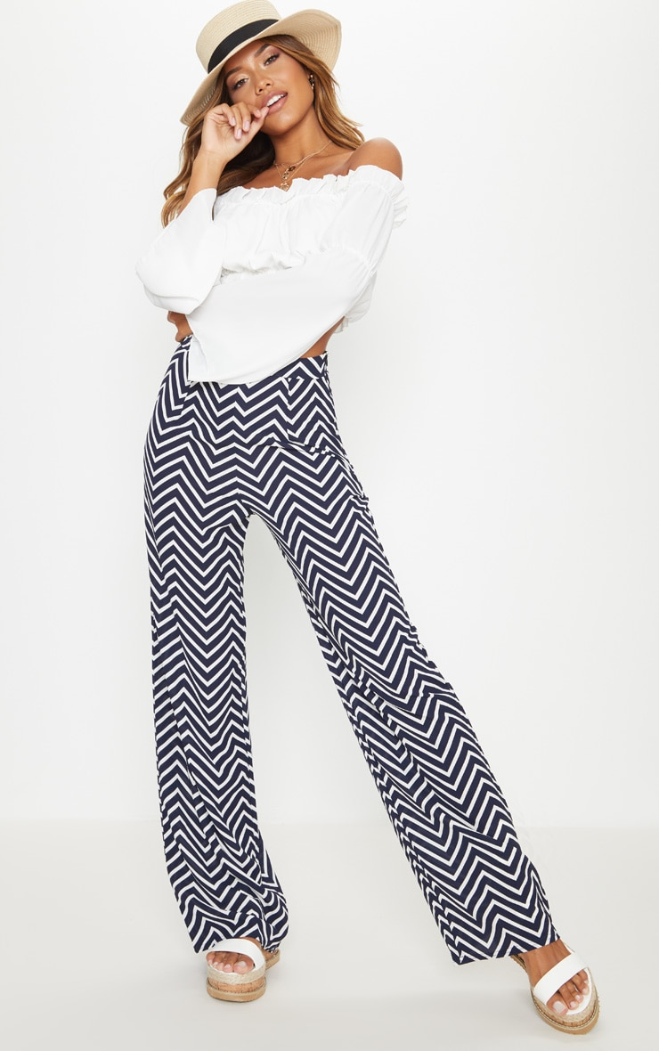 Navy Crepe Chevron Print Wide Leg Trouser