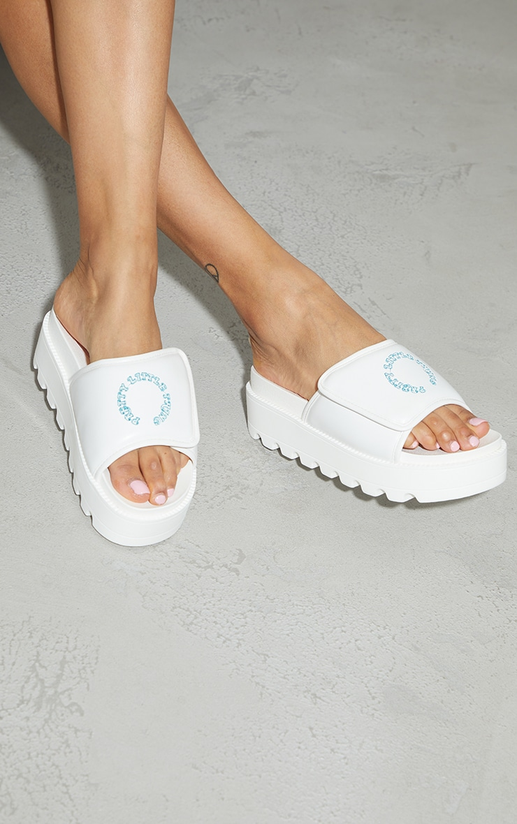 PRETTYLITTLETHING White Velcro Chunky Mule Sandals 2