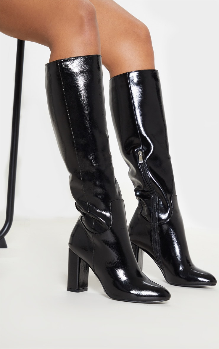 Black Block Heel Patent Calf Boot 3