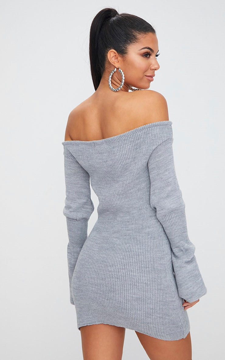 Grey Ruched Knit Dress 2
