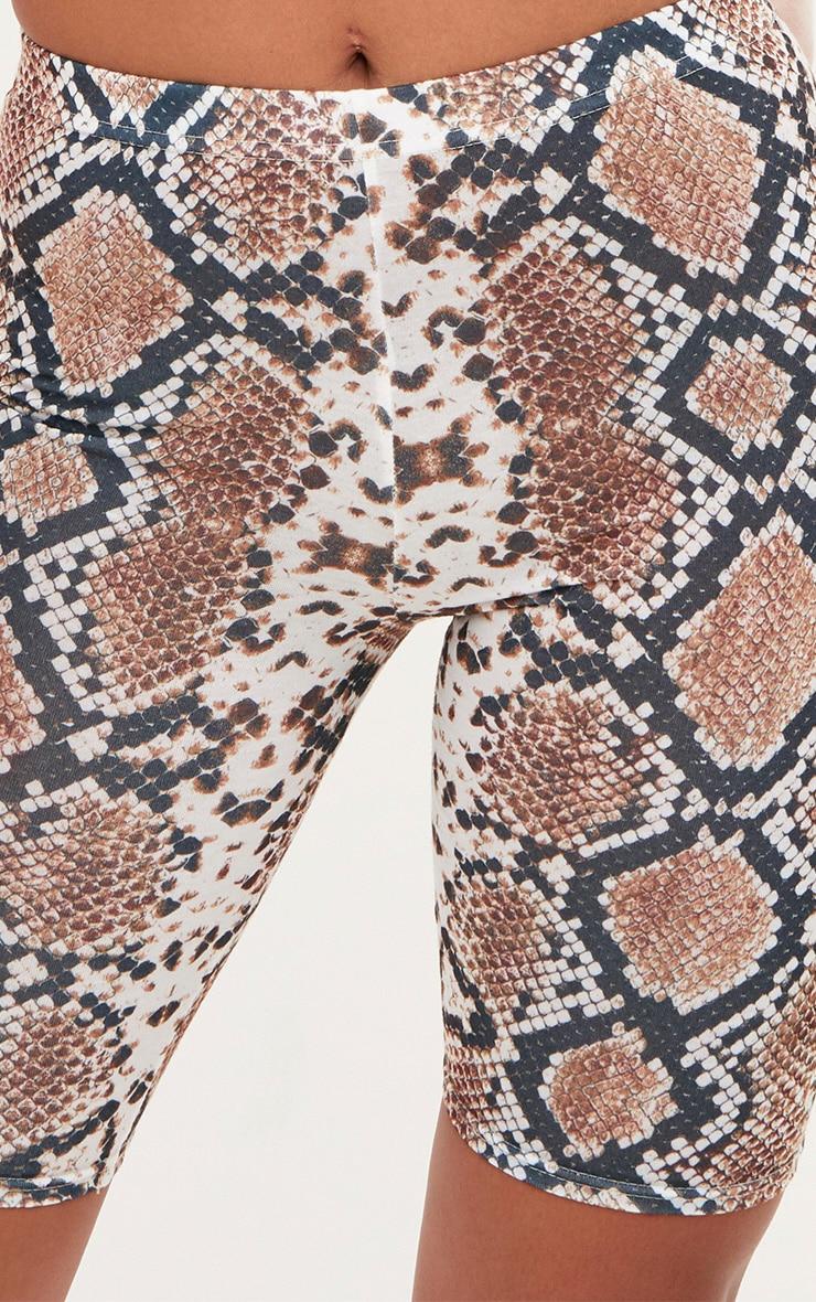 Taupe Snake Print Cycle Shorts 6
