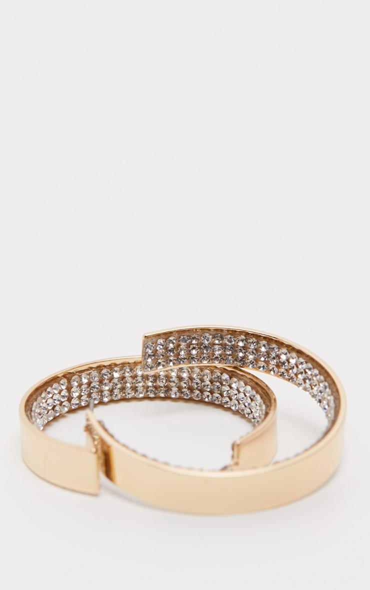 Gold Diamante Rim Hoop Earrings     3