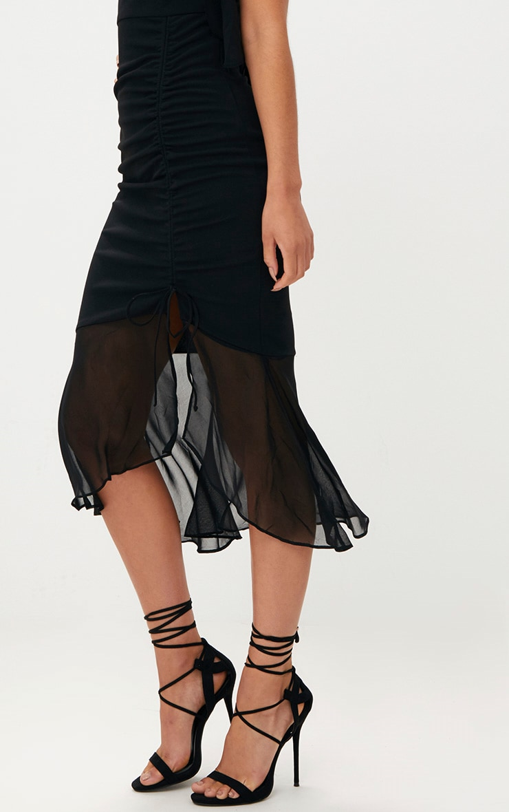 Black Ruched Detail Frill One Shoulder Midi Dress 5