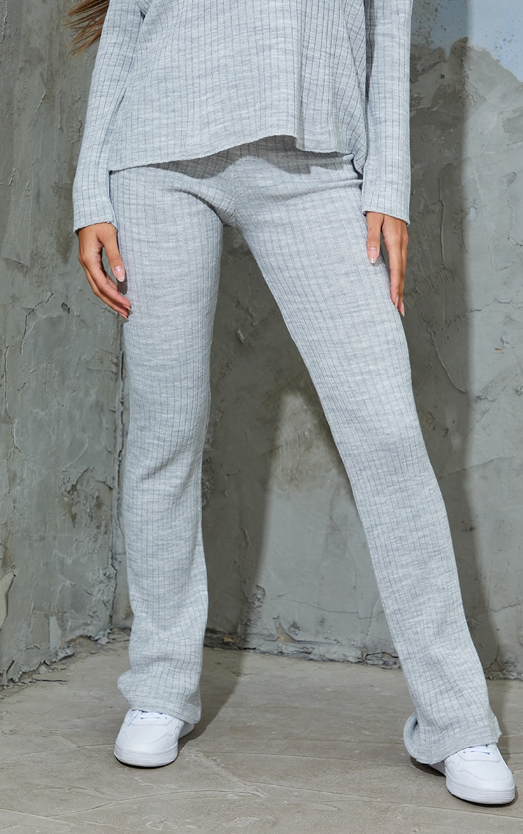 Grey Ribbed Knitted Flare High Waisted Pants