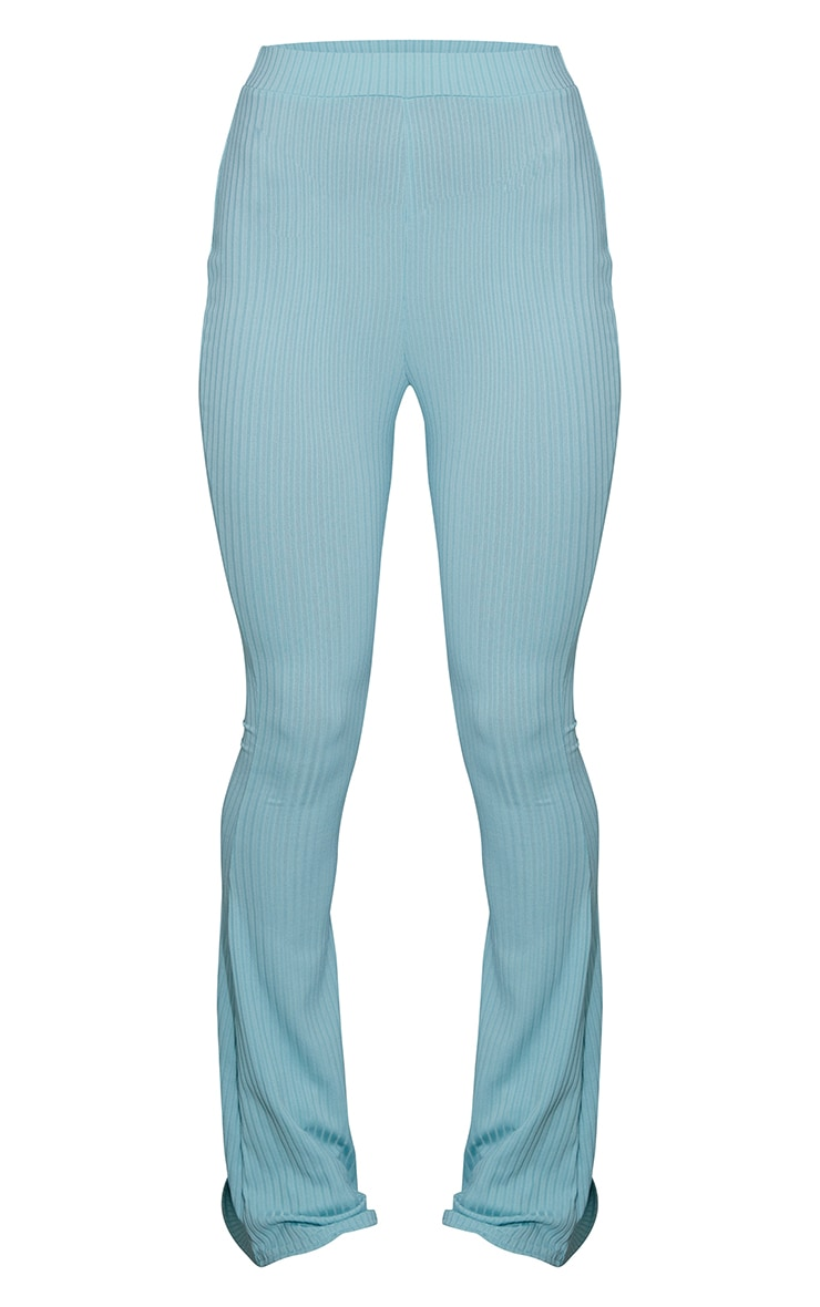 Washed Green Ribbed Flared Trousers 5