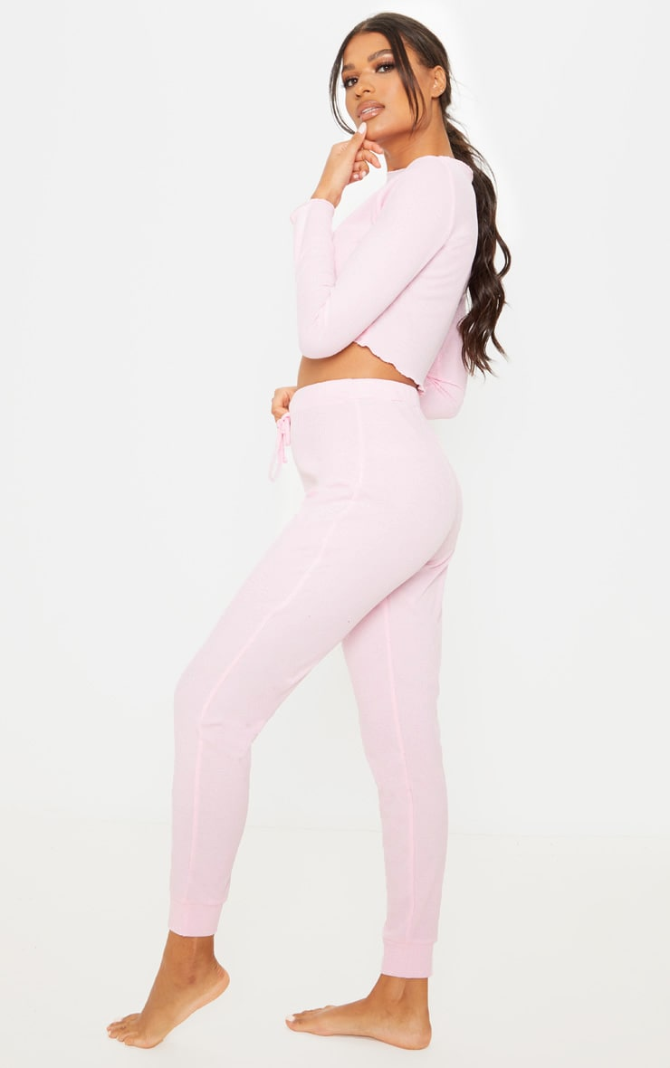 Baby Pink Ribbed Frill Edge Long Sleeve Legging PJ Set 4