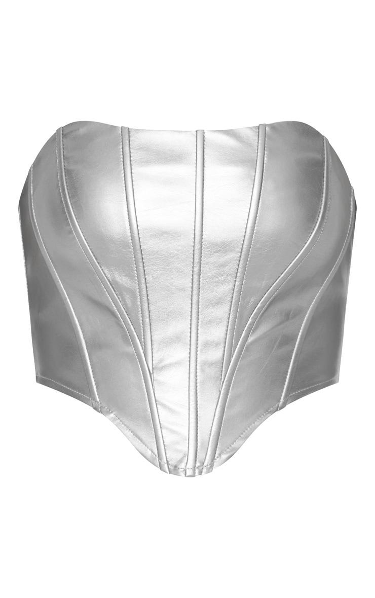 Silver Metallic PU Curved Hem Cropped Corset 3