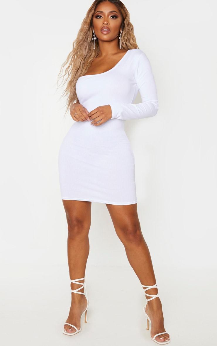 Shape White Cotton One Shoulder Long Sleeve Bodycon Dress 4