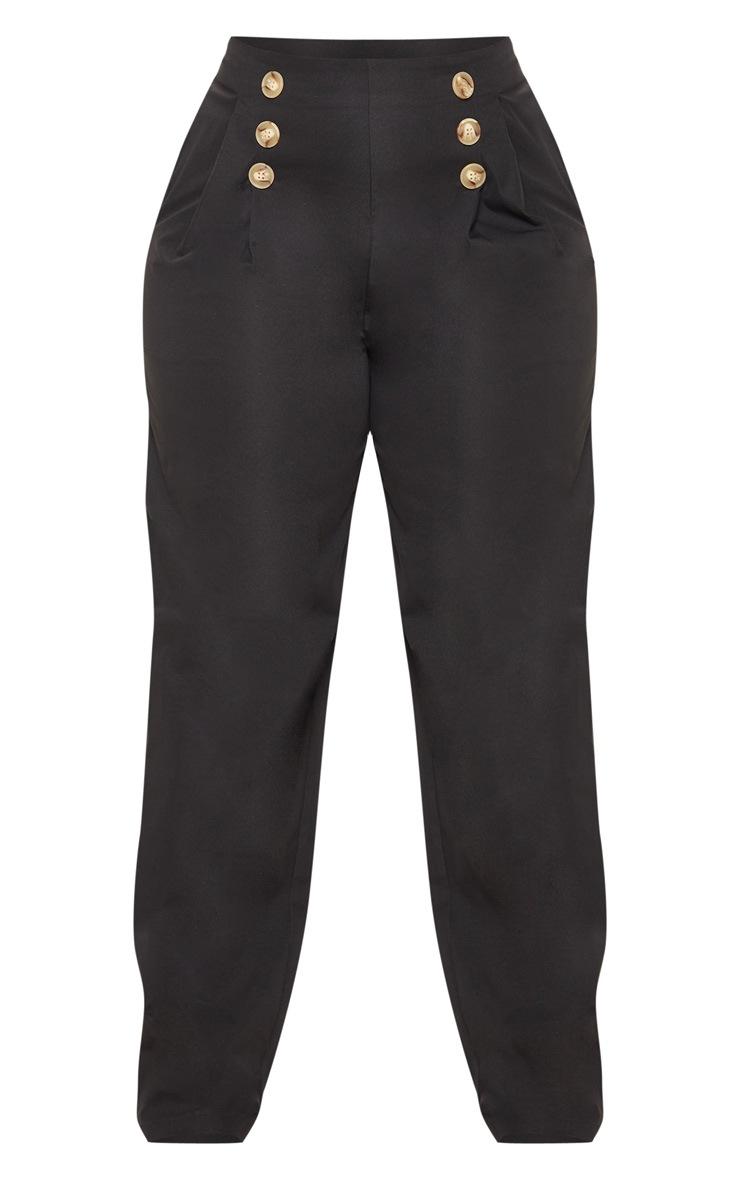 PLT Plus - Pantalon ample noir à détail boutons et pli 3