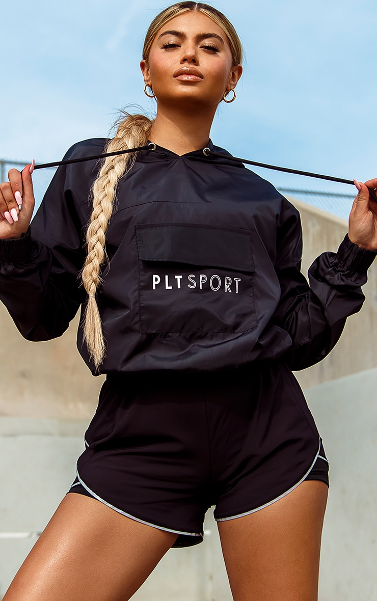 PRETTYLITTLETHING Black Sport Pocket Windbreaker