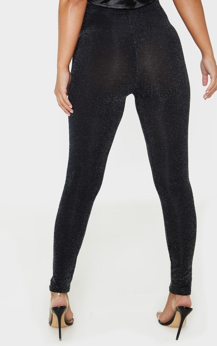 Petite Black Textured Glitter Legging 4