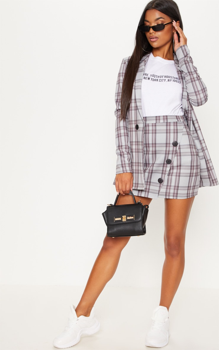 Grey Checked Button Skirt