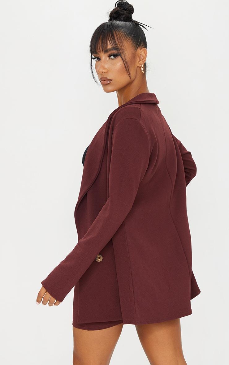 Burgundy Oversized Button Detail Blazer 2