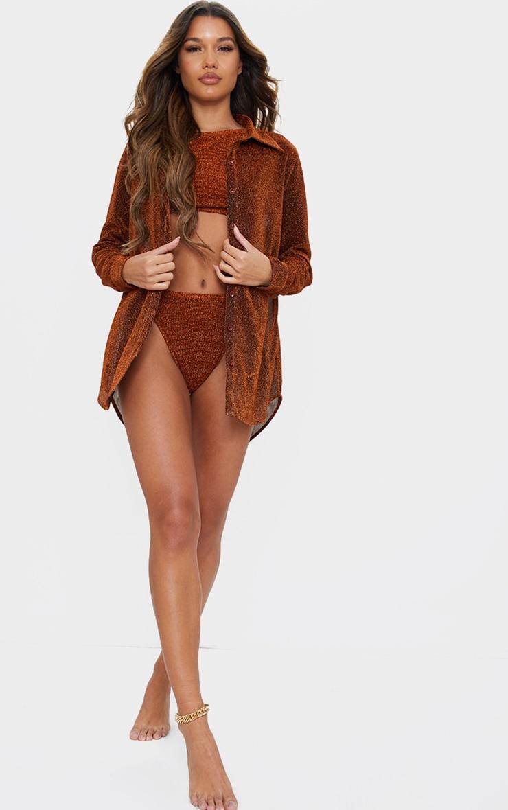 Bronze Glitter Oversized Beach Shirt 3