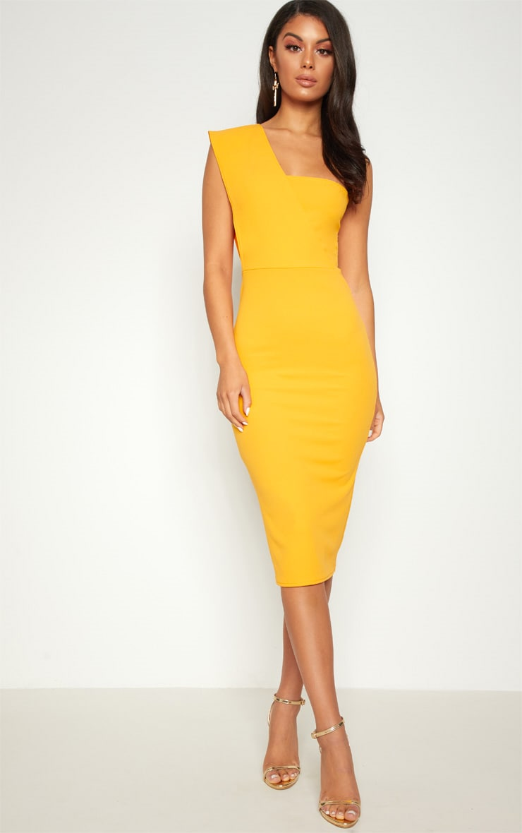 Yellow One Shoulder Draped Midi Dress