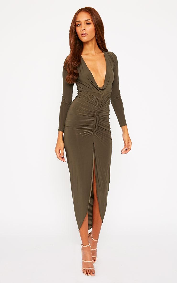 Ellie Khaki Slinky Ruched Maxi Dress 4