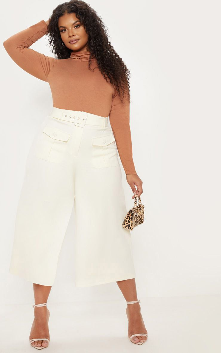 Plus Cream Pocket Detail Belted Culottes  1
