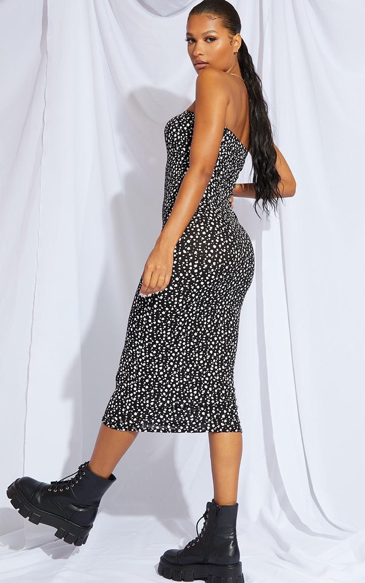 Black Dalmatian Print Bandeau Midaxi Dress 2